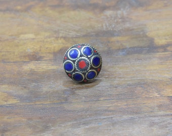 Rings India Brass Inlay Red Blue Circle Round Shape Ring