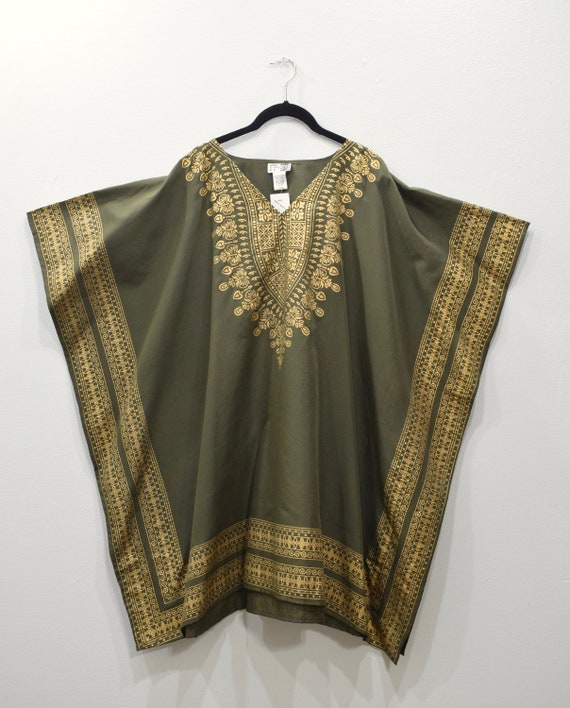 Shirt Olive Green Gold Dashiki