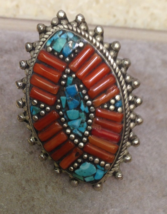 Tibetan Silver Turquoise Coral Ring Handmade Handcrafted Tribal Tibet Statement Wisdom Power Stone Unique