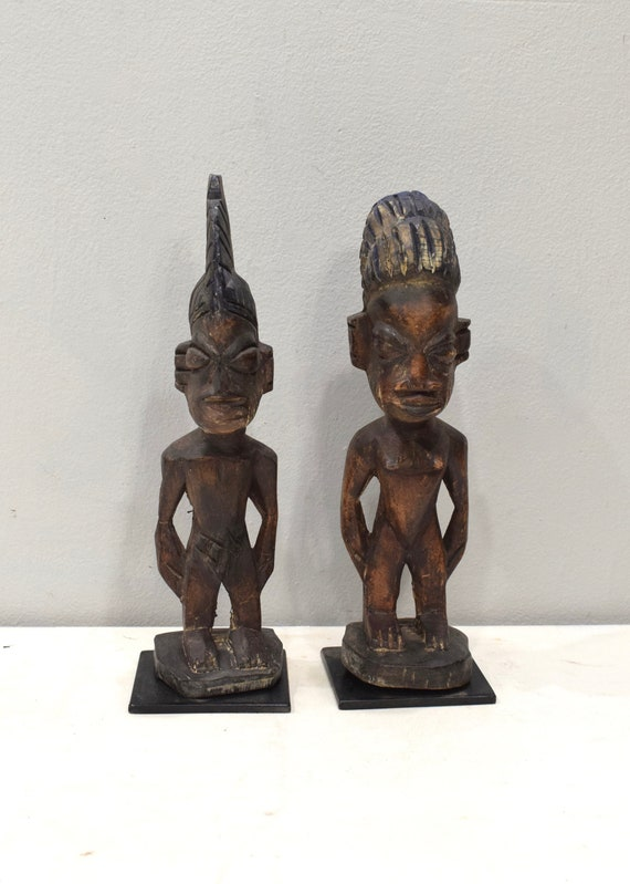 African Ibeji Twin Statues Male Female Figures Yoruba Nigeria