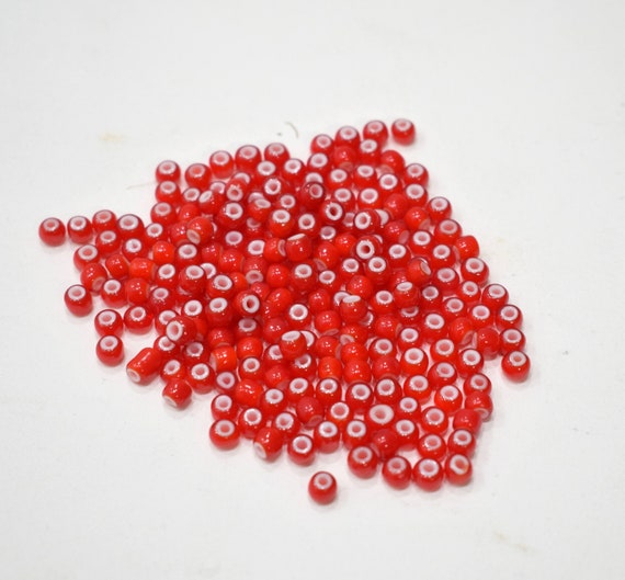 Beads African Red White Heart Glass Round Beads 5mm