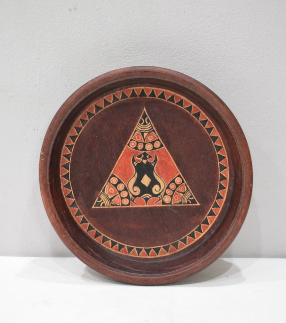 Bowl Indonesian Painted Wood Plate Bowl