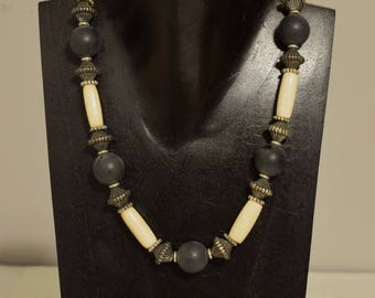 Necklace Black White Bone Silver Necklace