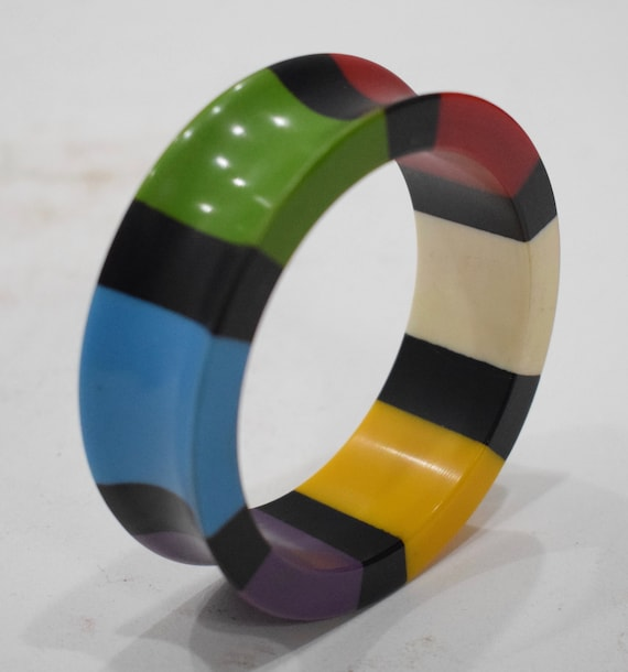 Bracelets  Bright Colored Print Lucite Bangle Bracelet
