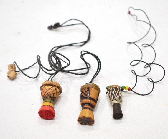 African Djembe Drum Necklaces Senegal