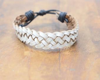 Bracelet White Leather Woven Tie Bracelet