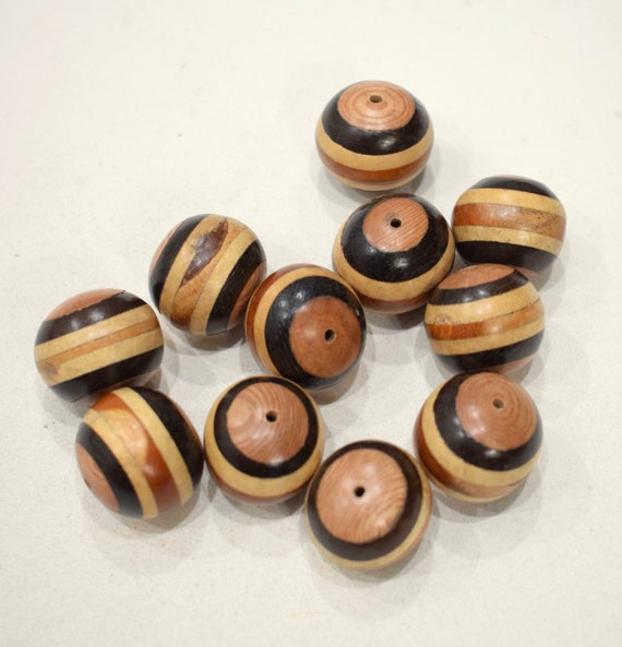 Beads Inlaid Stripped Round Wood Beads 22mm