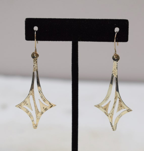 Earrings Sterling Silver Textured Snowflake Dangle Earrings 60mm