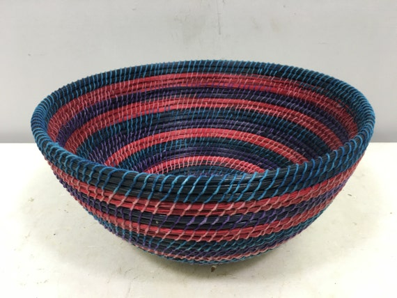 Basket African Lesotho Blue Purple Red Woven South Africa Handmade Hand Woven Coiled Woman Unique SM28