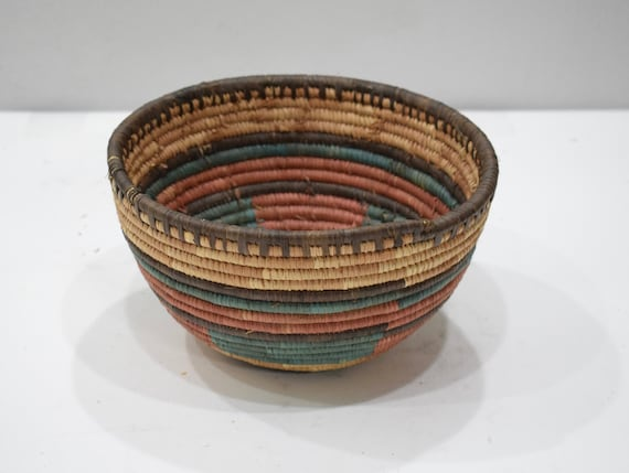 Baskets African Nigeria Colorful Woven Grass Baskets
