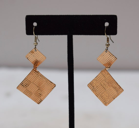 Earrings Plated Copper Textured Triangle Dangle Earrings 55mm