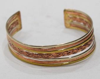 Bracelet Copper Woven  Wide Cuff Healing Bracelet