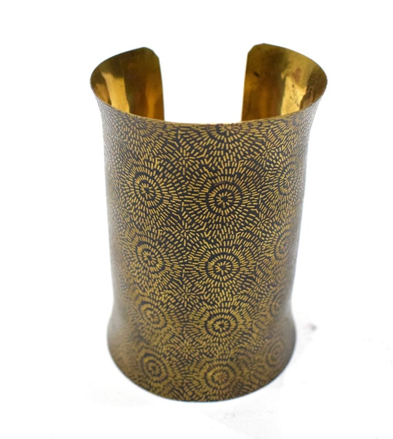 Bracelet Brass  Wide  Long Textured Cuff Bracelet