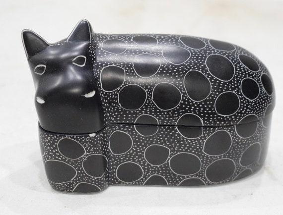 Hippo Box Soapstone Carved Design Hand Painted Hippo Box Kenya