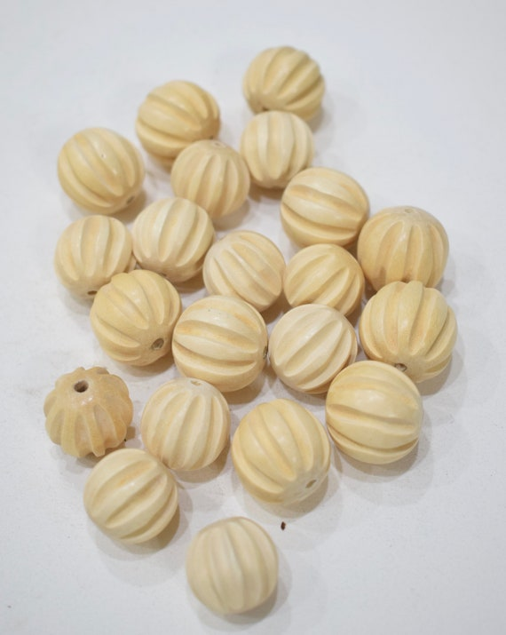 Beads Philippines White Wood Fluted Beads 14mm