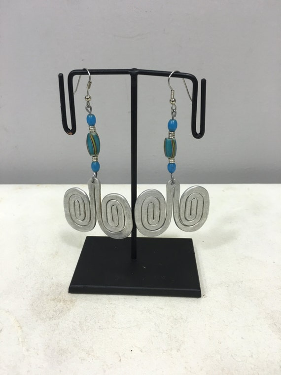 Earrings African Aluminum  Double Coiled Turquoise Blue Chevron Bead Masai Beaded Earrings Handmade Aluminum Women Earrings Tribal E20