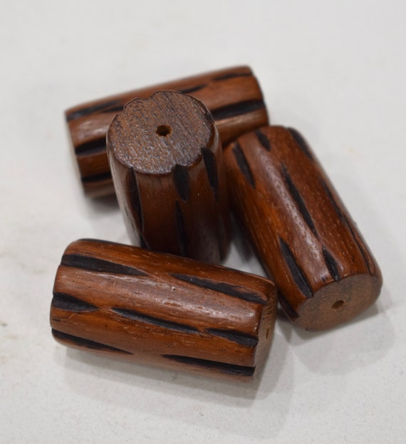 Beads Philippine Grooved Wood Barrel Beads 40mm