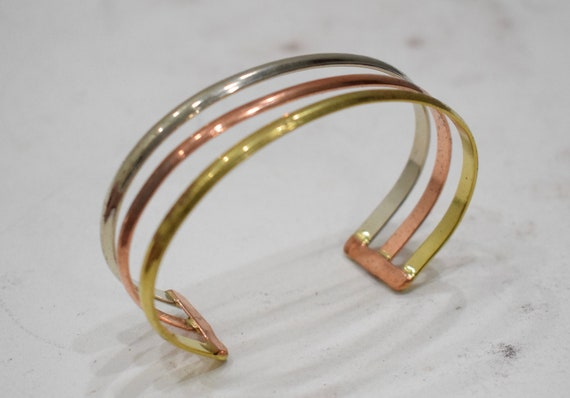 Bracelet 3 Band Copper Brass Silver Cuff Bracelet