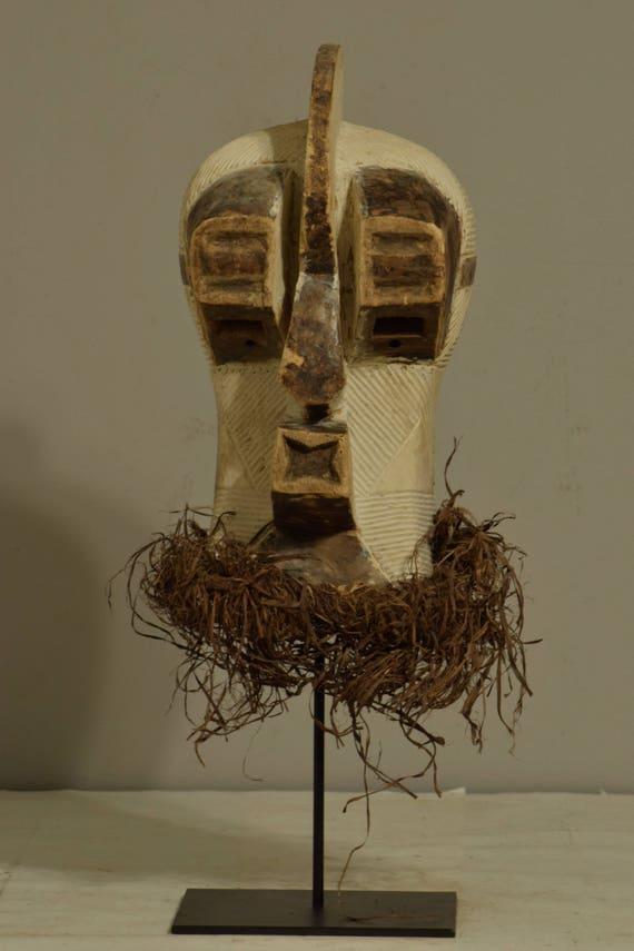 African Mask Songye Male Brown White Wood Congo Handmade Raffia Carved Wood Male Tribal Society Power Secret Sonyge Mask