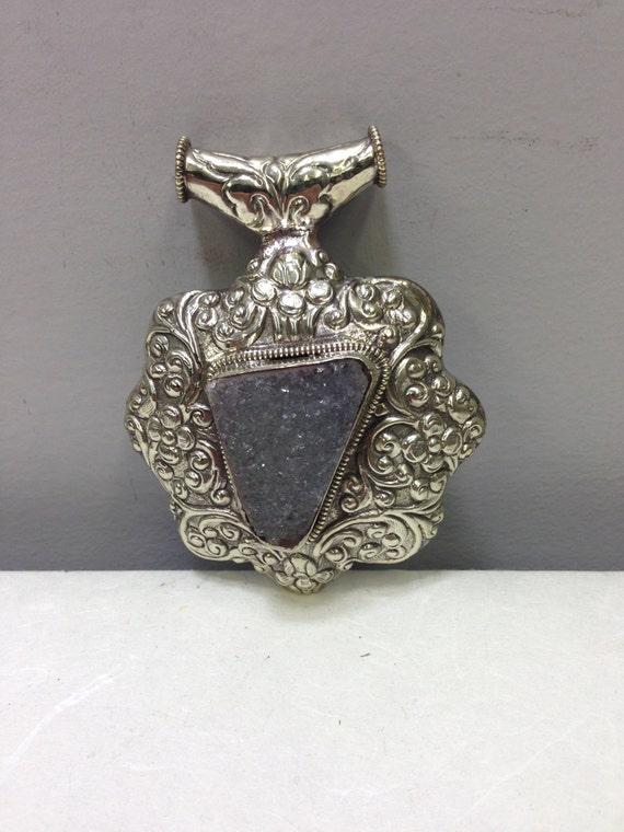 Pendant Silver Druzy Quartz  Crystal Silver Pendant Handmade Tibet Druzy Quartz Silver Pendant Necklace Tibet Unique  Statement