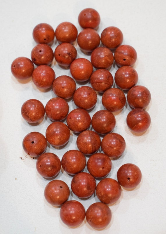Beads Apple Coral Round Vintage Beads 12mm
