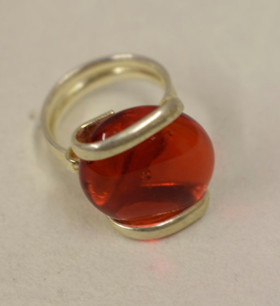 Ring Silver Clear Red Colored Glass Handmade Glass Silver Jewelry Ring Fun Clear Red Color Glass Unique