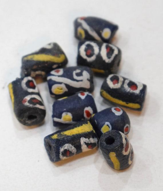 Beads African Sandcast Glass Black White Vintage 12mm -18mm