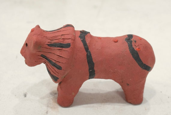 African Red Clay Lion Statue Samburu Kenya