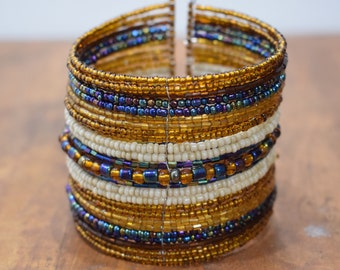 Bracelet Beaded Bronze Blue Iridescent Wide Wire Cuff Bracelet