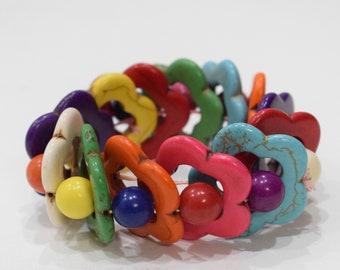 Bracelets Beaded Stone Colorul Flower Elastic Stretch Bracelet