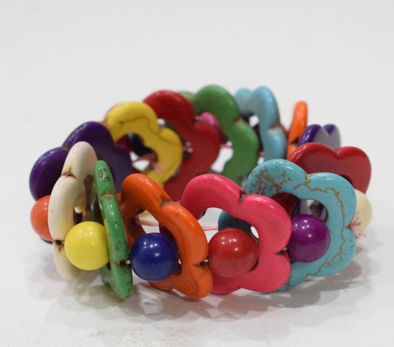 Bracelets Beaded Stone Colorul Flower Elastic Stretch Bracelet