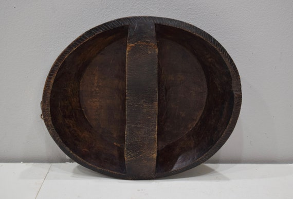 African Ethiopian Gurage Tribe Meat Bowl Carved Back Wood Bowl Gurage Tribe