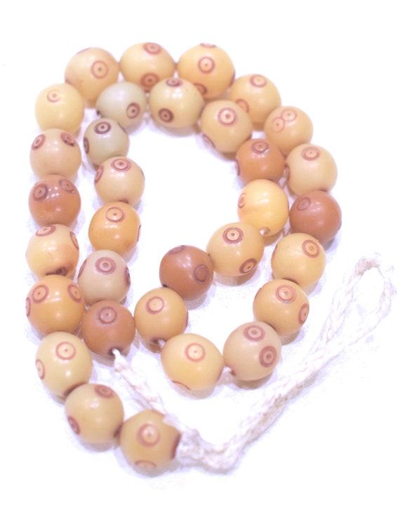 Beads India Beige Red Dot Buri Nut Beads 12mm
