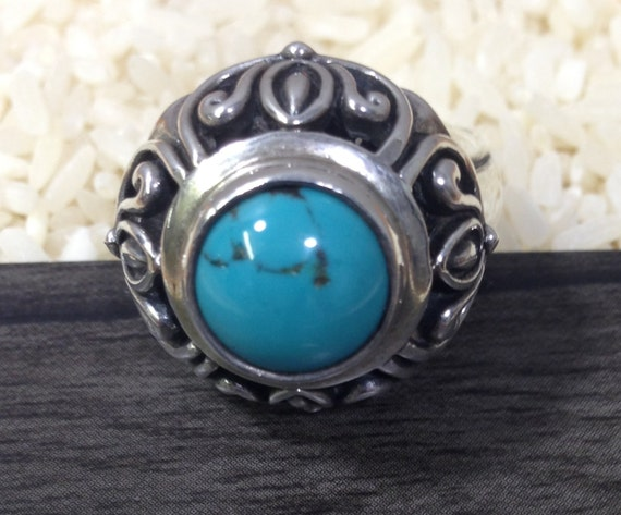 Chinese Sterling Silver Turquoise  Ring Handmade Handcrafted Turquoise Blue Gift Jewelry Statement Ring