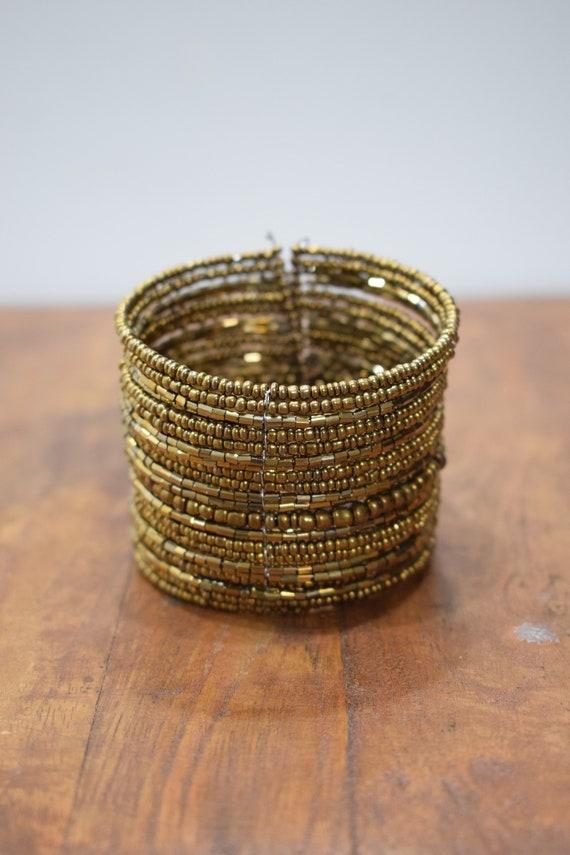 Bracelet Beaded Bronze Gold Wire Cuff Bracelet