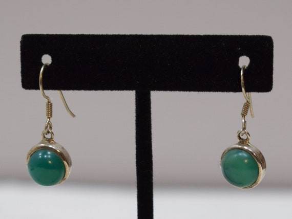 Earrings Sterling Silver Green Serpentine Round Stone 30mm