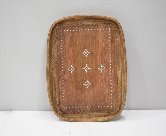 Tray Indonesian MOP Inlaid Wood Tray