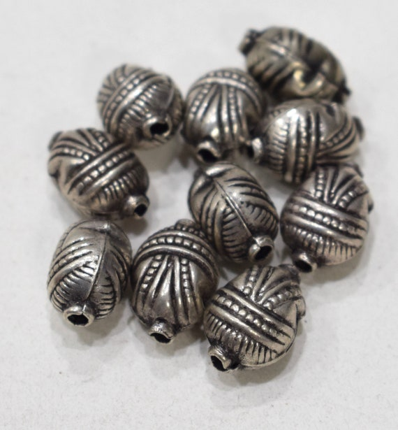 Beads Nepal Silver Textured Beads 18mm