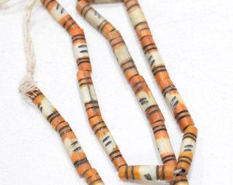 Beads Indonesian Yellow Stripe Bone Tubes 22-23mm