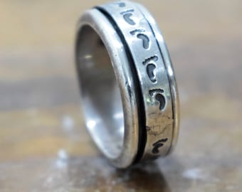 Ring Sterling Silver Etched Band Spinner Ring