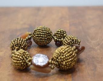 Bracelet Beaded Bronze Brown Glass Beaded Bead Elastic Bracelet
