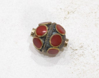 Beads Middle Eastern Red Stone Brass Oval Beads 18mm