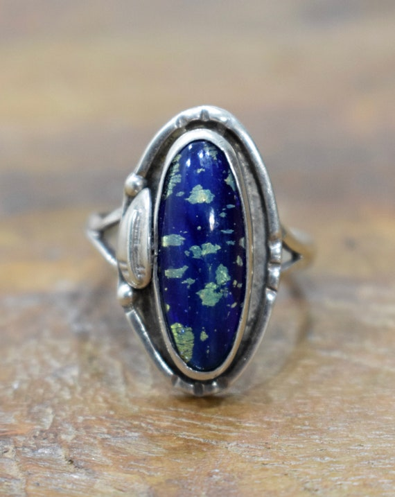 Ring Sterling Silver Blue Dichroic Glass Ring
