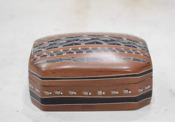 Hex Box Soapstone Carved Design Hand Painted Hex Box Kenya