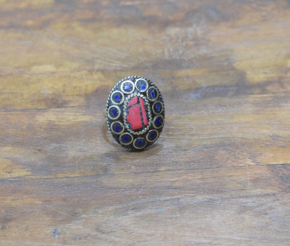 Rings India Brass Inlay Red Blue Oval Shape Ring