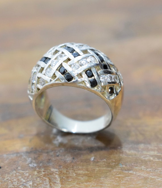 Ring Sterling Silver Cubic Zirconia Silver Dome Ring