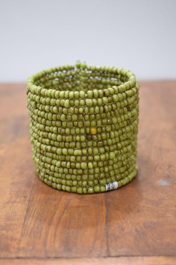 Bracelet Beaded Green Wide Wire Cuff Bracelet