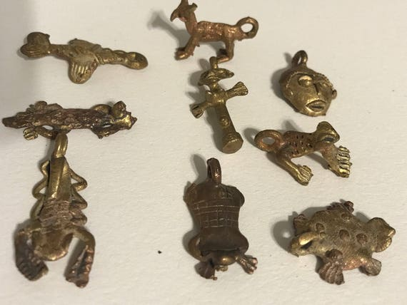 African Bronze Charms Cast Animals Ghana Swordfish Turtle Frog Lizard Fertility Doll Mask Charms sold individually