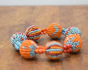 Bracelet Beaded Orange Red Blue Beaded Bead Elastic Bracelet
