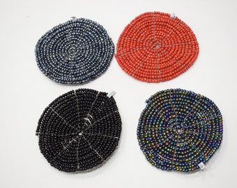 """Coasters Indonesian Assorted Color Round Wire Beaded Coasters 5"""""""